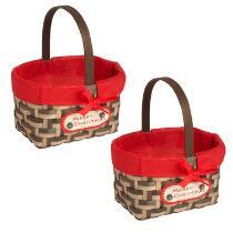 """Merry Christmas"" Woven Gift Baskets, Set of 2"