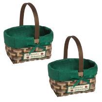 """Season's Greetings"" Woven Gift Baskets, Set of 2"