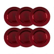 Round Red Metallic Charger Plates, Set of 6