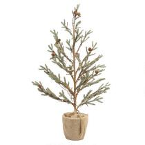 "32"" Pre-Lit Burlap and Pinecone Artificial Tabletop Tree"