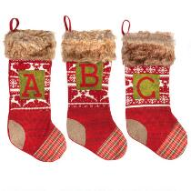 Knitted Patchwork Monogram Christmas Stocking