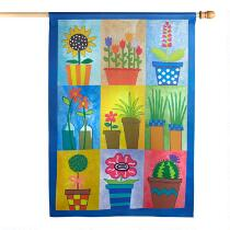 Flower Pots Suede-Like Yard Flag