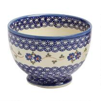 Polish Pottery Blue Floral Chain Large Footed Bowl