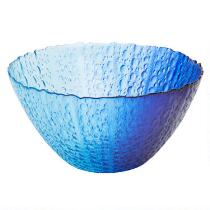 Blue Echinus Hand-Painted Glass Serving Bowl