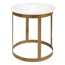 Gold Frame Round Accent Table with Marble Top