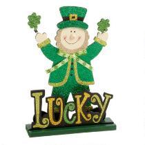 """12.5"""" """"Lucky"""" Elf Glittered Table Sitter"""