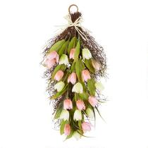 "25.5"" Tulips Teardrop Artificial Wreath Hanger"