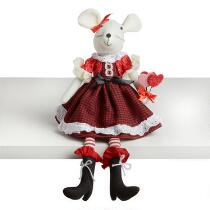 """20"""" Girl Mouse Ledge Sitter with Heart Bouquet"""