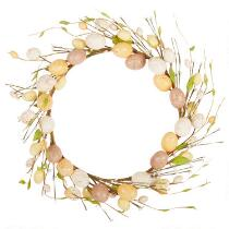 "15"" Brown/Orange Speckled Eggs Wreath"