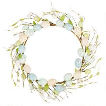 "15"" Blue/Teal Speckled Eggs Wreath"