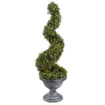 "36"" Spiral Boxwood Topiary Tree with LED Lights"