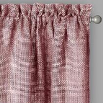 Red Country Weave Solid Rod Pocket Window Curtains, Set of 2