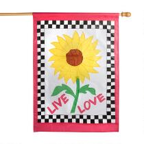 """Live Love"" Checkered Sunflower Garden Flag"