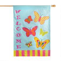 """""""Welcome"""" Butterflies in the Sky Garden Flag"""