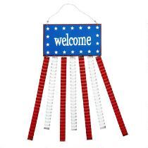 """Welcome"" Metal Flag Hanging Decor"