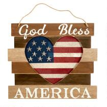 "11""x13"" ""God Bless America"" Stars/Heart Hanging Decor"
