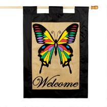 """Welcome"" Rainbow Butterfly Burlap Yard Flag"