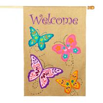 """Welcome"" Flying Butterflies Burlap Yard Flag"