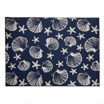 Midnight Blue Seashells All-Weather Area Rug