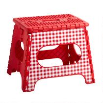 Red Checkered Folding Step Stool
