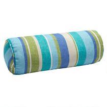 Green/Blue Striped Indoor/Outdoor Lumbar Roll Pillow