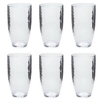 Hammered Acrylic Clear Tumblers, Set of 6