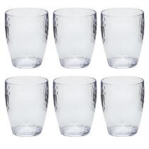 Hammered Acrylic Clear DOF Glasses, Set of 6