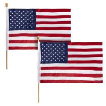 Traditional Nylon American Flags, Set of 2