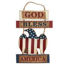 "14"" ""God Bless America"" Eagle Wood Wall Hanger"