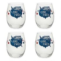 """""""Land of the Free"""" Stemless Wine Glasses, Set of 4"""