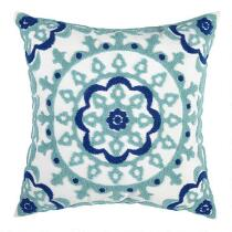Blue/Green Medallion Indoor/Outdoor Square Throw Pillow