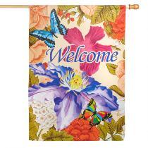 """Welcome"" Butterflies Suede-Like Yard Flag"