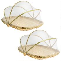 Bamboo Square Covered Food Serving Baskets, Set of 2