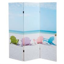 Coastal Beach Chairs 3-Panel Screen