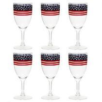 USA Acrylic Wine Glasses, Set of 6