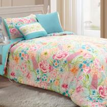 Ava Floral/Blue Reversible Comforter Set