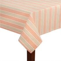 Coral/Tan Stripe Cotton Jacquard Tablecloth