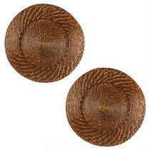 Round Woven Rattan Charger Plates, Set of 2