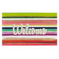 """""""Welcome"""" Multicolor Stripe All-Weather Door Mat"""