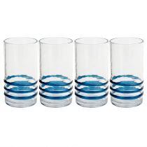 Blue Bohemian Rings Acrylic Cooler Glasses, Set of 4