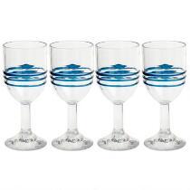 Blue Bohemian Rings Acrylic Wine Glasses, Set of 4
