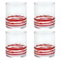 Red Bohemian Rings Acrylic DOF Glasses, Set of 4
