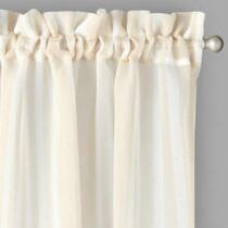 Tan/White Stripe Printed Window Curtains, Set of 2