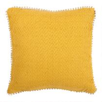 Jute Border Feather-Fill Square Throw Pillow