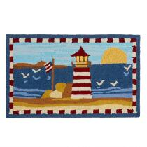 Red Lighthouse Hand-Hooked Mat
