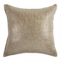 Metallic Gold Indoor/Outdoor Square Throw Pillow