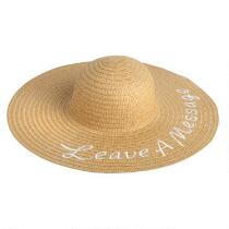 """Leave a Message"" Tan Embroidered Wide Brim Beach Hat"