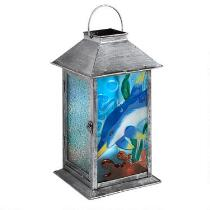 "12.5"" Dolphin Glass Candle Holder Lantern"
