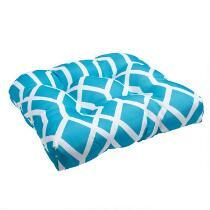 Aqua Geometric Indoor/Outdoor Single-U Seat Pad