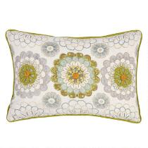 Floral Medallion Embroidered Oblong Throw Pillow
